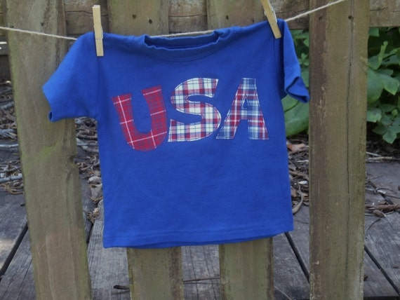 ReD WhITe & BLuE  Boys Custom PATRIOTIC USA  or NAME applique Tee sz 6-12-18-24 mth 2T 3-4-5-6  in assorted colors and fabrics