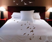 ShaNickers Handpainted Birds in Flight King size DUVET COVER with shams PLUS decals