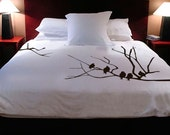 """Handpainted """"Winter Tree w/ Birds"""" Duvet Cover w/ pillow cases by ShaNickers-- King Size"""