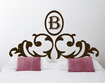 ShaNickers Wall Decal-  Headboard w/ Initial -Queen Size--FREE SHIPPING