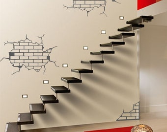 ShaNickers Wall Decal/Sticker- Exposed Bricks--FREE SHIPPING