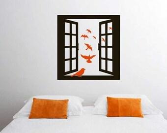 ShaNickers Wall Decal/Sticker-Open Window w/ Birds-FREE SHIPPING