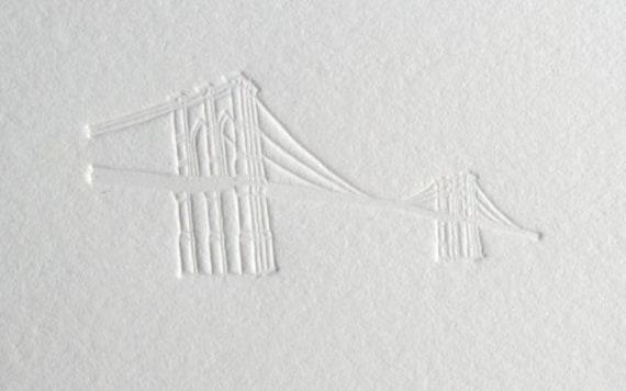 Brooklyn Bridge, letterpress debossed correspondence cards (set of 10)