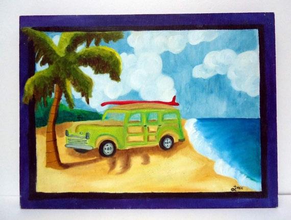 Woody Beach Wagon Painting - 16 x12 - retro 50's car