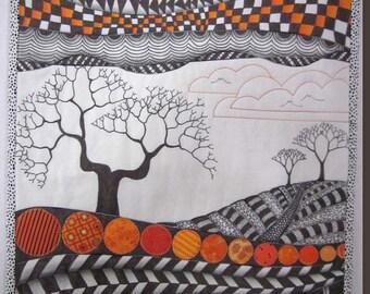 Orange Zendscape Art Quilt