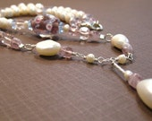 ON SALE Beautiful Pink and Pearls Necklace