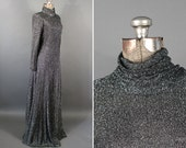 SALE 1970s black and silver metallic maxi gown