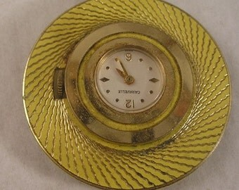 Yellow Caravelle Pendant Watch Necklace 7 Jewel Swiss Vintage 60s 70s