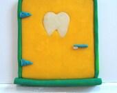 Tooth Fairy Door- Yellow with Toothbrush Door Handle, Glow-in-the-Dark Tooth Window