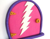Fairy Door- Monster Protection Unit- Pink with Glow-in-the-Dark Lightning Bolt