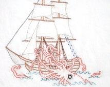 Kraken vs. Ship Hand Embroidery Pattern PDF