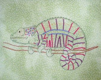 Chameleon Hand Embroidery Pattern PDF