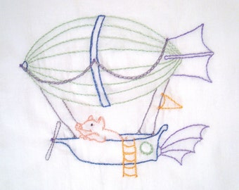 Flying Pig in Zeppelin Airship Hand Embroidery Pattern PDF