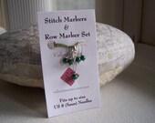 Green Malachite Stitch Marker Set of 4 for Knitting US 8 (5mm)