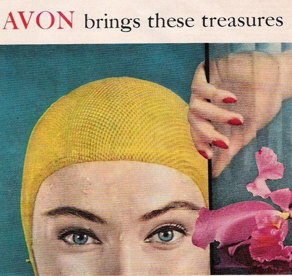 1950s Vintage AVON COSMETICS Advertising... Double Page Ad