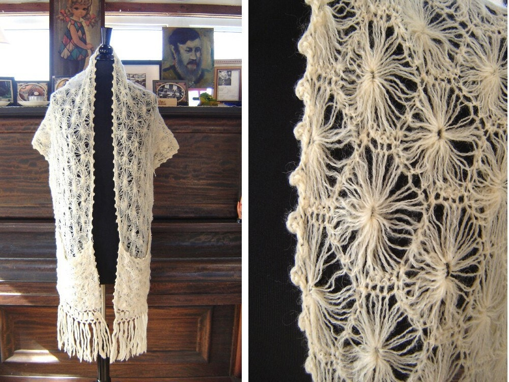 Vintage SPIDER WEB CROCHET Wool Shawl With By