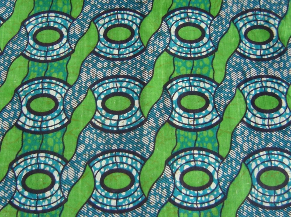 Karibu Textile African Batik Wax Print Fabric Bright Green And