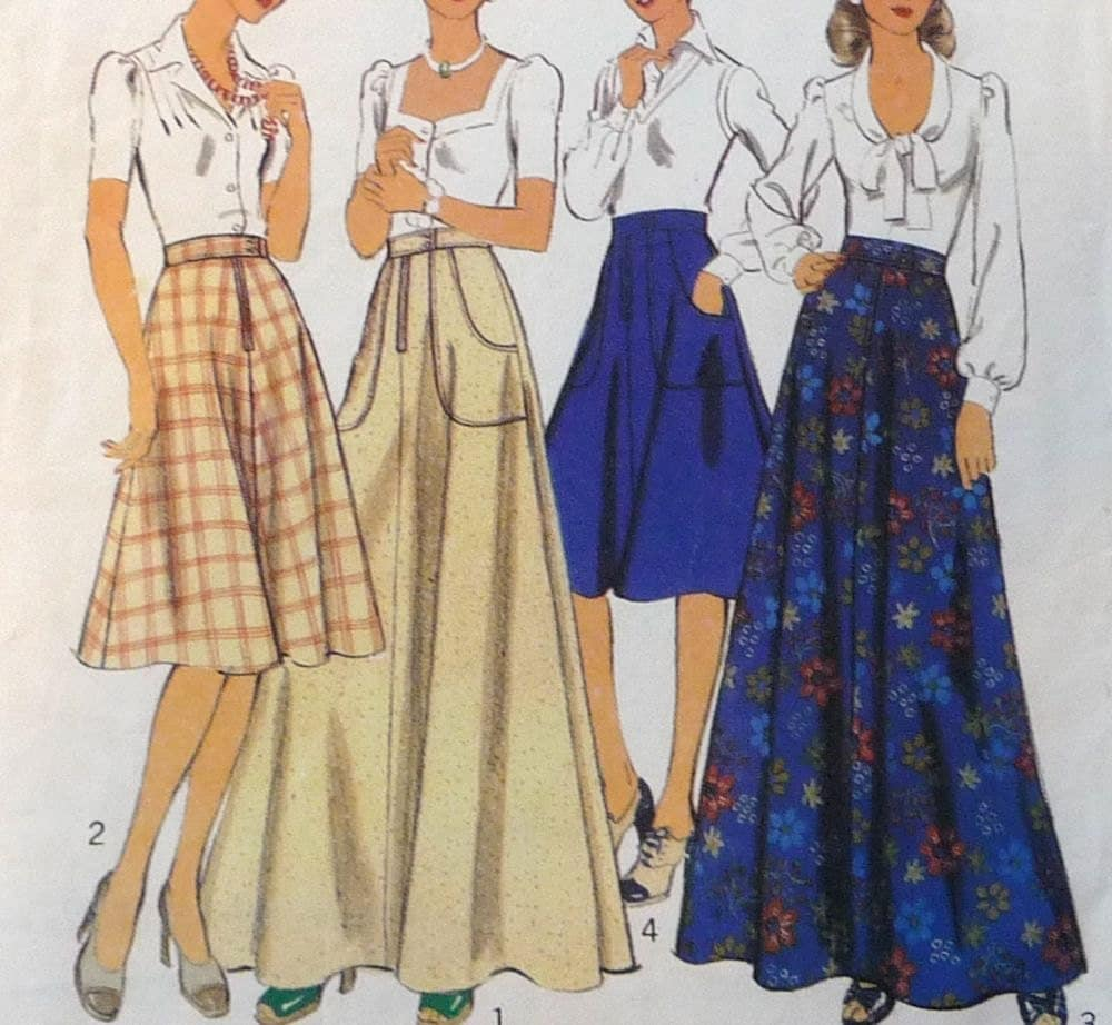 1970s sewing pattern midi skirt maxi skirt
