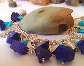 Lapis Turquoise Silver  Cowgirl Blues Charm Bracelet