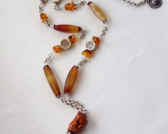 Carnelian and Baltic Amber Fine Silver  Frog Necklace