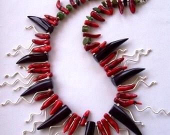 Modern Tribal Australian Red Coral Black Agate Chrysoprase Fine Silver Desert Pea Necklace