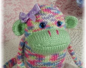 Cute Hand Knitted Monkey with soft Green, Pink, Purple, Blue Plush Toy