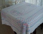 Huge Vintage Shabby Pink and Blue Tablecloth