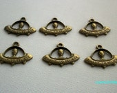 6 UFO Flying Saucer Antiqued Bronze Tone Charms