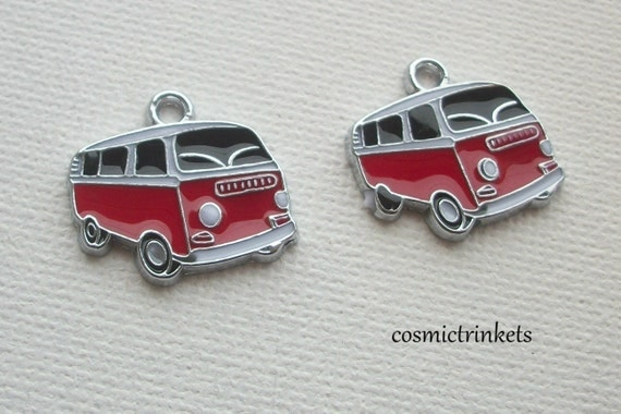 2 Camper Vans Hippie Vans Enamelled Metal Charms