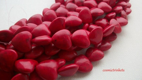 10 Blood Red Hearts Dyed Stone Beads
