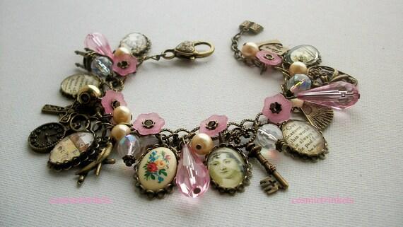 Jane Austen Bronze Tone Charm Bracelet