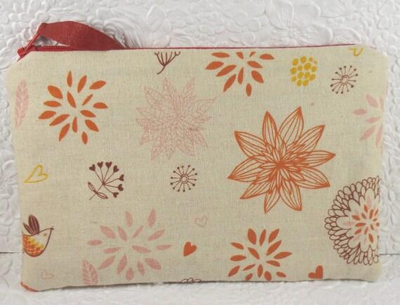 Orange purse, floral purse, fabric purse, zippered ouch, fashion accessory, womens accessory