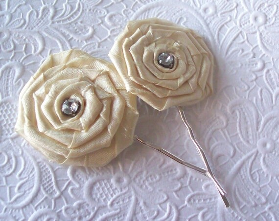 2 ivory hair-pins -  hair accessory occasion party wedding