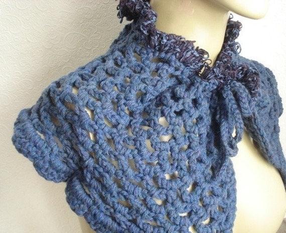 Purple/blue capelet, ruffled shrug, winter wear, womens accessory