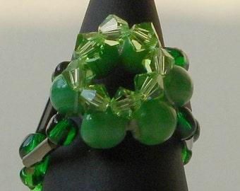 Malachite and Swarovski crystal ring