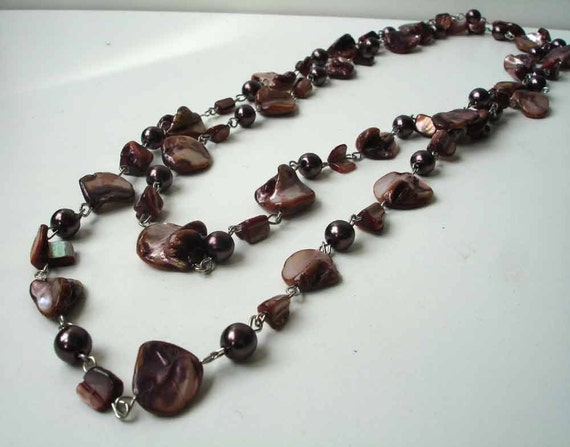 Mother of pearl necklace xl in brown