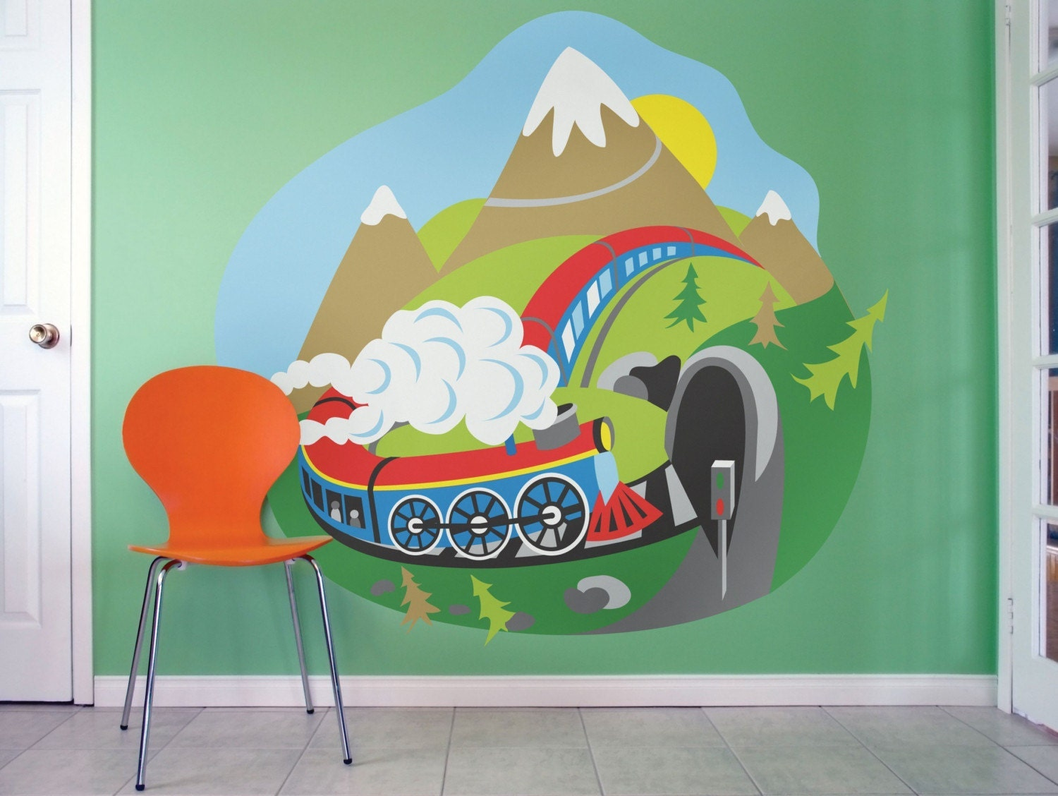Kids wall murals train wall mural locomotive wall mural for Children s wall mural
