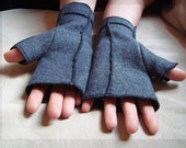 Grey  Fleece Xmittens, Recycled Fingerless Gloves, Black thread details, size LARGE
