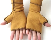 Recycled Fleece Fingerless Mittens in Cozy Mustard Yellow, Extra Long, black thread details,  SMALL