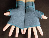 MEDIUM Gray Recycled Fleece Fingerless Gloves, teal thread details