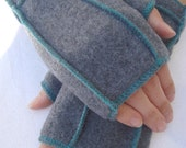 MEDIUM Warm Gray Recycled Fleece Fingerless Gloves, teal thread details