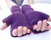Plum Long Xmittens, Recycled Fleece Fingerless Gloves,red thread, vegan, SMALL