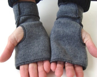 SALE- Gray Fingerless Mittens, recycled fleece, black thread details, vegan, MEDIUM