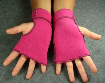 Hot Pink Recycled Fleece Fingerless Gloves, Black thread details, size SMALL