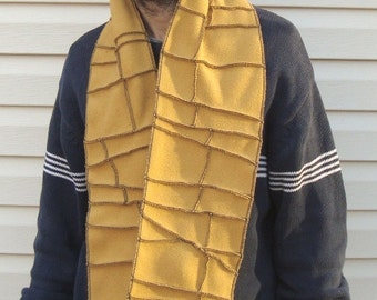 Mustard Yellow Fleece Scarf, vegan, recycle fleece, black thread