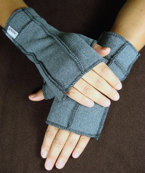 Mittens Gray Recycled Fleece Fingerless Gloves,  BLACK thread, warm winter mitts, size small