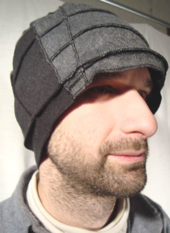 Xmittens- Charcoal Gray and Black Fleece Hat with 3D thread details- LARGE- ON SALE