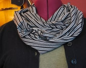 Infinity scarf in black and gray paris stripe