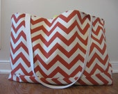 Beach Bag Extra Large - Texas Orange Chevron Beach Tote - Water Resistant Lining - Interior Pocket
