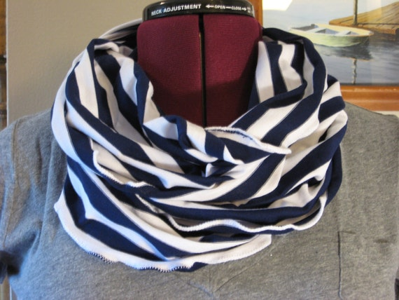 Infinity scarf in nautical blue stripe Fall Fashion